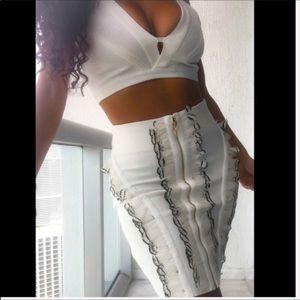 Callie White Feather: Bandage Skirt SET W/ Bra Top
